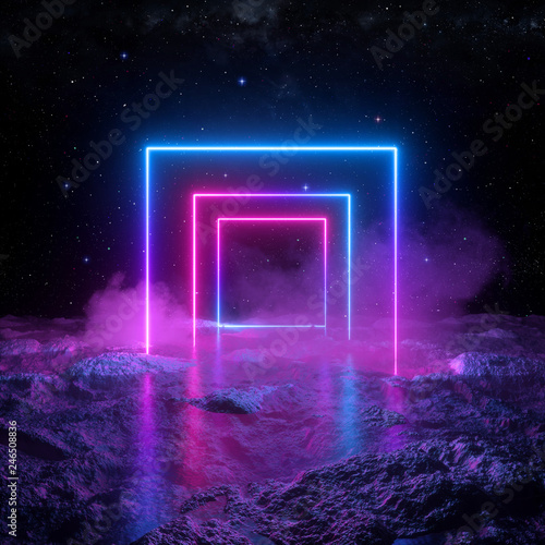 3d Render Abstract Background Cosmic Landscape Square