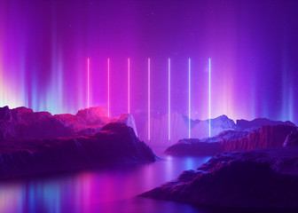 Poster Violet 3d render, abstract background, cosmic landscape, aurora borealis, pink blue neon light, virtual reality, energy source, glowing laser lines, space, ultraviolet spectrum, mountain rocks, ground