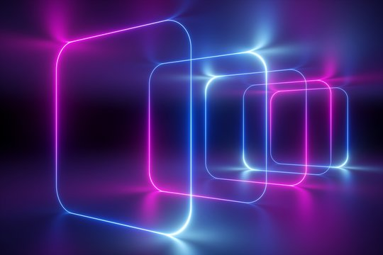 3d render, abstract background, ultraviolet neon light, holographic technology, tunnel, rounded square frames, virtual screen, space portal, virtual reality environment, pink blue spectrum, laser show