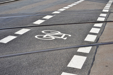 Road with tram tracks crossing a bicycle road