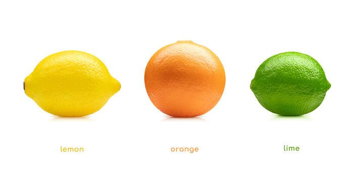 Lemon lime orange fruits