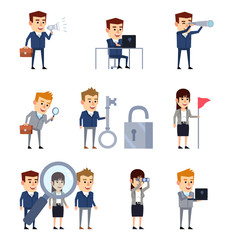 Business people searching, browsing. Businessman holds magnifier, spyglass, browsing in internet. Flat design vector illustration