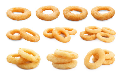 Set of delicious fried crispy onion rings on white background