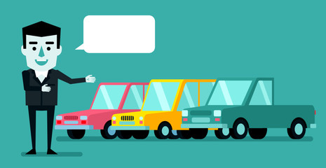 Cheerful businessman points to new cars. Car dealer, win prize. Flat style vector illustration