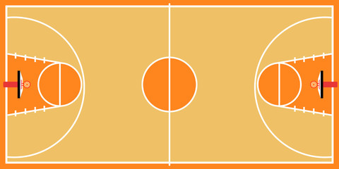 Isolated aerial view of a basketball court