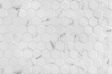 White marble wall with hexagon pattern Fototapete