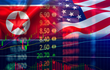 Trade war economy USA America and North Korea flag candlestick graph Stock market exchange analysis