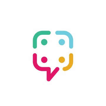 people family group community chat talk bubble logo vector icon