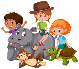 Isolated kids with wild animals