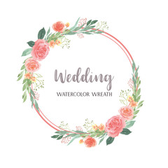 Watercolor florals hand painted with text wreaths frame border, lush flowers aquarelle isolated on white background. Design flowers decor for card, save the date, wedding invitation cards, poster.