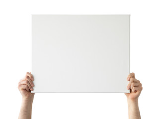 Holding canvas mockup. Photo Mockup. The man hold canvas. For canvas design. Frame size 20x16 (50x40cm).