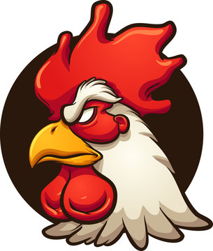 Angry rooster head with dark circular background. Vector clip art illustration with simple gradients. All in a single layer.
