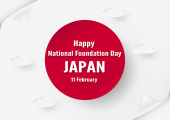 Happy National Foundation Day 2019 for Japanese. Template design in flatlay style. Vector illlustration with paper cut and craft concept.