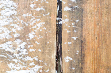 Old brown boards under the snow