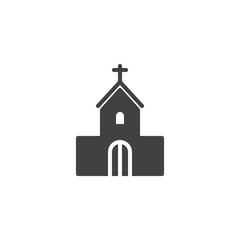 Church house vector icon. filled flat sign for mobile concept and web design. Church building with cross simple solid icon. Symbol, logo illustration. Pixel perfect vector graphics