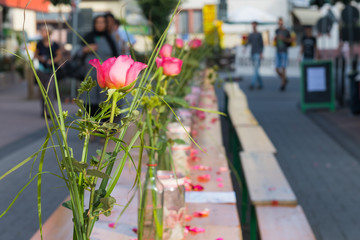 Rose als Tischdekoration bei einem Streetfood-Festival