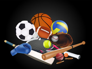 Sports equipment with a football basketball baseball soccer tennis ball volleyball boxing gloves and badminton as a symbol of sports online on colorful background. vector illustration.
