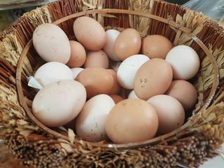 eggs many in a basket fresh like nest