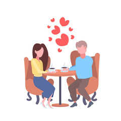 couple lovers sitting cafe table drinking coffee happy valentines day concept man woman over red heart shapes love dating male female characters full length flat isolated