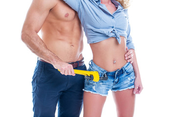 Naked worker with wrench romance with sexy woman