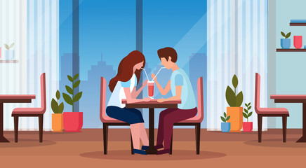 couple drinking coffee through straw together happy valentines day concept man woman in love romantic dating modern restaurant interior horizontal full length flat