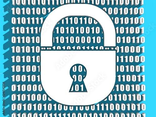 Binary code background with lock icon  Algorithm binary