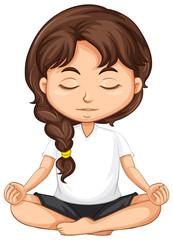 A girl meditation on white background