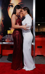 """Cast member Rodriguez and actor Longoria greet each other at the premiere for """"Miss Bala"""" in Los Angeles"""