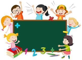 Children on blackboard banner