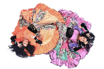 view from the top.two women dancers performing Gypsy dance. Wall mural