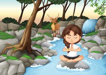 A girl meditate in nature
