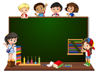 Children with blackboard banner