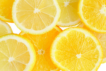 citrus slice, oranges and lemons isolated on white background, clipping path