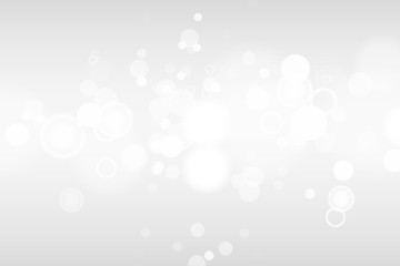 Silver and white bokeh lights defocused. Abstract background. Elegant, shiny, blurred light background. Magic christmas background. EPS 10. Wall mural