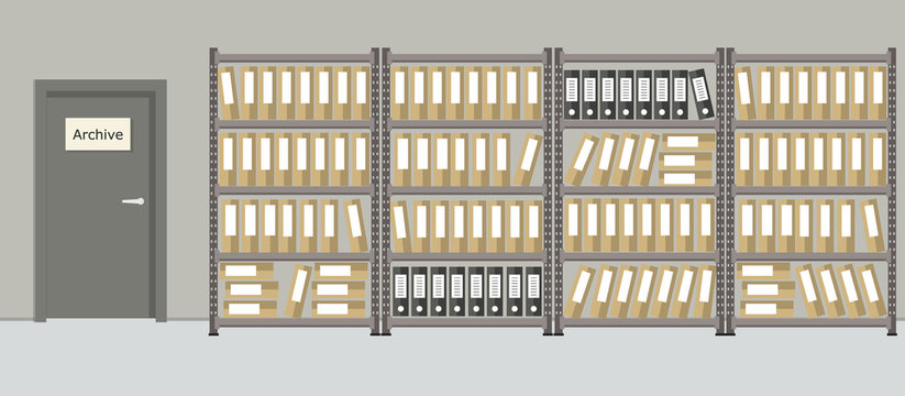 Archive. The room for storage of documents. Interior. There are racks with folders on a door background in the picture. Vector