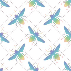 Hand drawing Rainbow colorful Insect fly Bee wings. seamless pattern