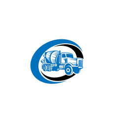 Concrete mixing truck vector. Flat design. Industrial transport. Construction machine. For construction theme illustrating.