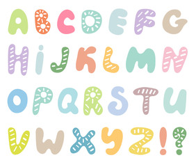 Hand drawn abc vector set isolated on white background. Cute doodle alphabet. Funny rounds letters