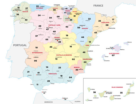 spain province map with 2-digit zip codes