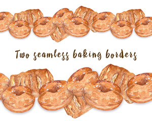 Two seamless curbstones, pastries, donuts and puff pastry