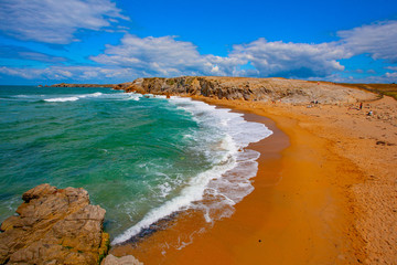 france; brittany; Quiberon :  beach and rocks
