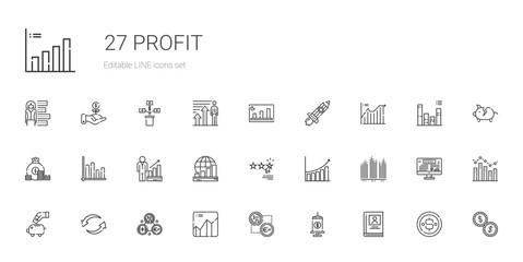 profit icons set