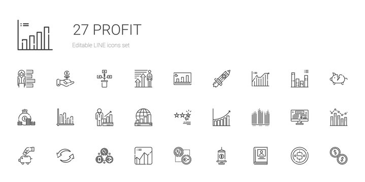 profit icons set