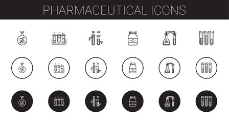 pharmaceutical icons set