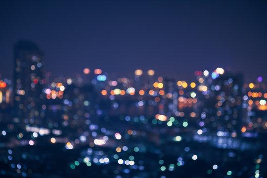 abstract night light of cityscape bokeh