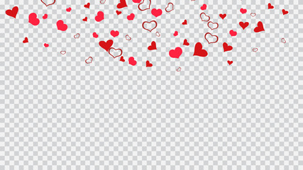 Design element for wallpaper, textiles, packaging, printing, holiday invitation for wedding. Red hearts of confetti crumbled. Red on Transparent fond Vector. Festive background.