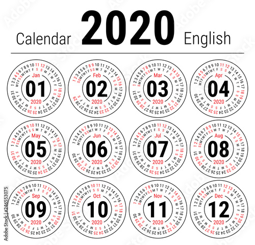 Calendar 2020 February And March.Calendar 2020 Vector English Round Calender January February