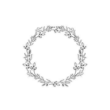 Wreath (circle frame) with flowers and leaves, hand drawn template. Design for invitation, wedding or greeting cards. Vector illustration.