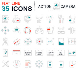 Set vector line icons action camera and drone in flat design with elements for mobile concepts and web apps. Collection modern infographic logo and pictogram