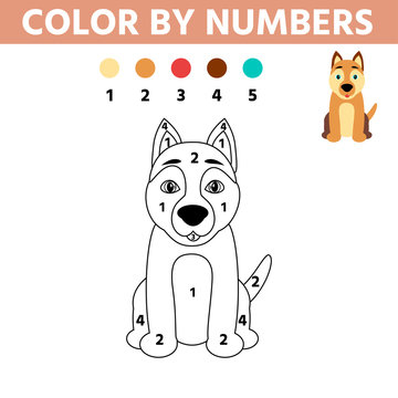 Coloring page with cute dog. Color by numbers educational children game, drawing kids activity, printable sheet. Vector illustration.